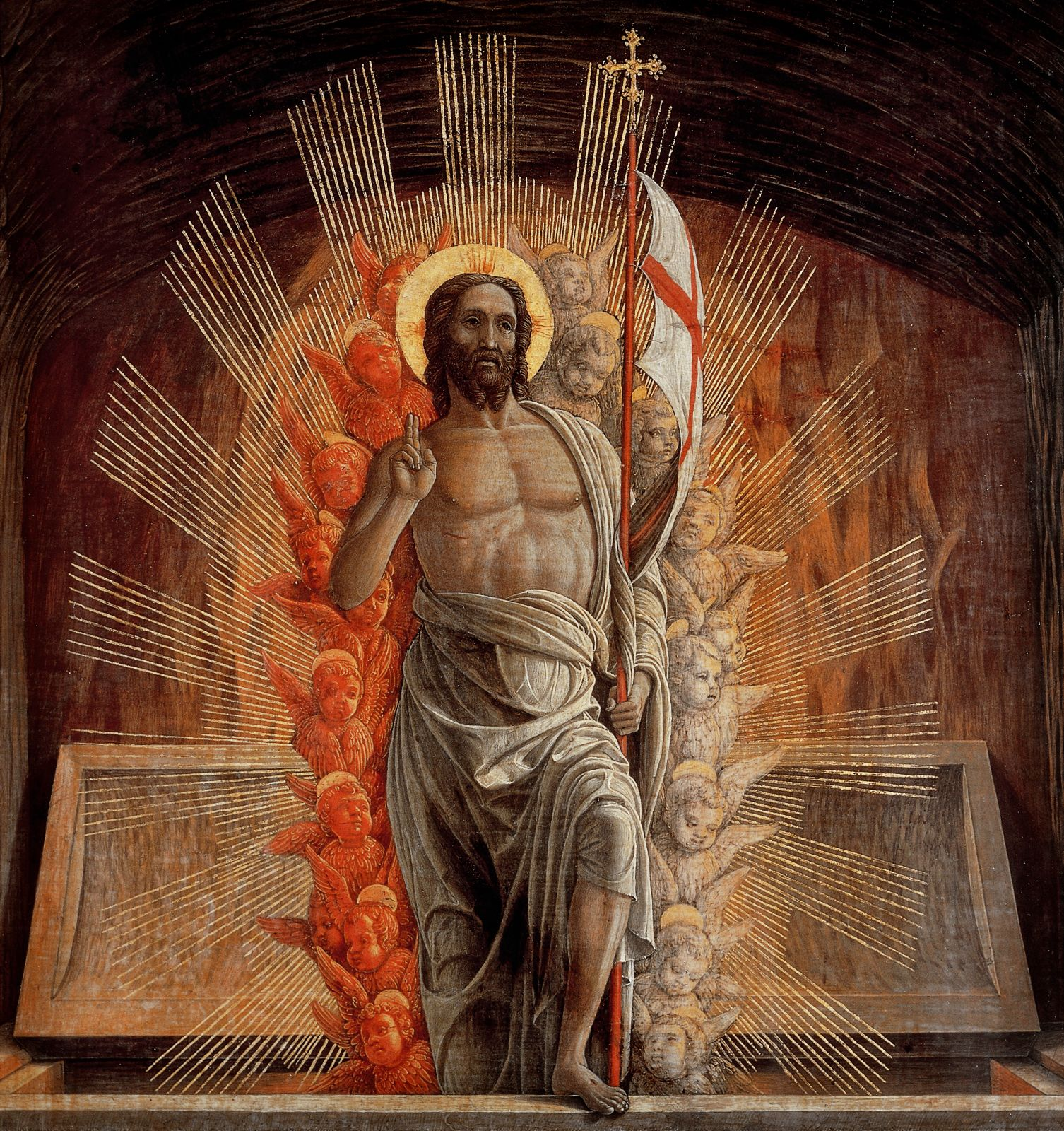 """The Risen Christ is depicted in the painting """"Resurrection"""" by 15th-century Italian master Andrea Mantegna. Easter, the chief feast in the liturgical calendars of all Christian churches, commemorates Christ's resurrection from the dead. Easter is March 27 this year. (CNS/Bridgeman Images) Editors: This image is made available for one-time editorial use online and in print through April 25, 2016. No use is permitted after April 25, 2016."""